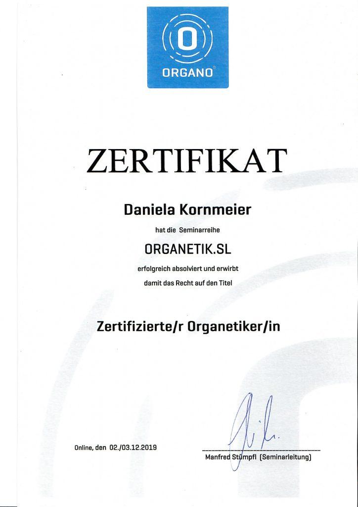 Zertifikat Organetikerin Daniela Kornmeier, Ortenau